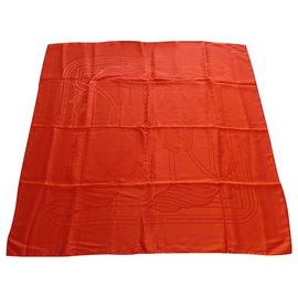 Hermès-carré hermès 90x90 quadrige jacquard de soie-Orange