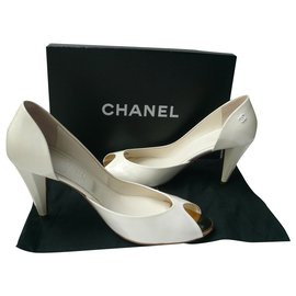 Chanel-CHANEL White patent leather pumps T39 IT-White