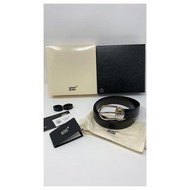 Montblanc-MONTBLANC BELT BLACK AND SILVER BRAND NEW-Black,Silver hardware
