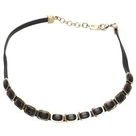 Salvatore Ferragamo-Ferragamo Black Chain Leather Bracelet-Black,Golden