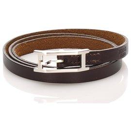 Hermès-Hermes Brown Api Leather Bracelet-Brown