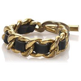 Chanel-Chanel Gold Leather Woven Chain Bracelet-Black,Golden
