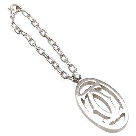 Cartier-Porte-clés à breloque en argent avec logo Cartier-Argenté