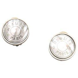 Hermès-Hermes Silver Clou De Selle Earrings-Silvery