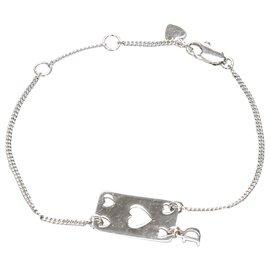 Dior-Bracelet à breloques Dior avec plaque cœur en argent-Argenté