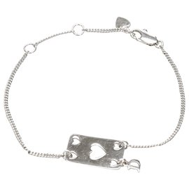 Dior-Dior Silver Heart Plate Charm Bracelet-Silvery