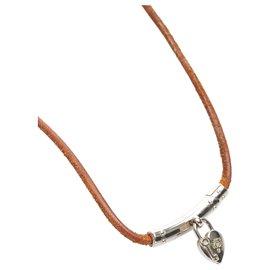 Hermès-Hermes Brown Cadena Leather Choker-Brown,Silvery