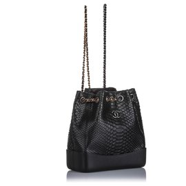 Chanel-Chanel Black Gabrielle Python Backpack-Black