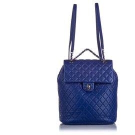 Chanel-Chanel Blue Large Urban Spirit Backpack-Blue
