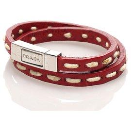 Prada-Prada Red Leather Bracelet-Silvery,Red