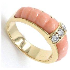 Van Cleef & Arpels-Vintage Van Cleef & Arpels Gold Diamond Coral Band Ring-Multiple colors