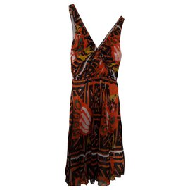Prada-PRADA SILK DRESS-Brown,White,Orange,Yellow
