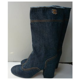 Chanel-CHANEL New denim jeans boots T40 IT-Dark blue