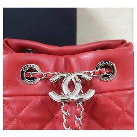 Chanel-Chanel Red Drawstring Bucket Bag Shoulder Handbag Quilted-Red