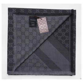 Gucci-GGWEB GUCCI SCARF STOLA antracite  NEW-Dark grey