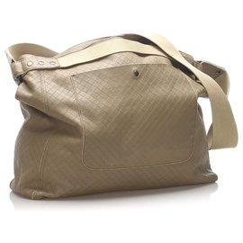 Bottega Veneta-Bottega Veneta Brown Intrecciomirage Leather Travel Bag-Brown,Beige