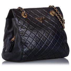 Prada-Prada Blue Impuntu Leather Chain Shoulder Bag-Blue,Navy blue