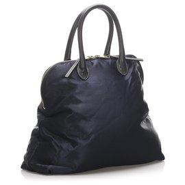 Céline-Celine Blue Nylon Handbag-Blue,Dark blue