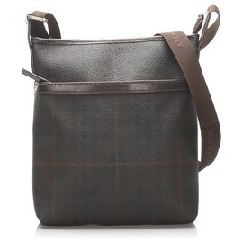 Burberry-Burberry Brown Smoke Check Coated Canvas Crossbody-Brown,Dark brown