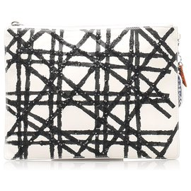 Dior-Dior White Cannage Leather Clutch Bag-Black,White