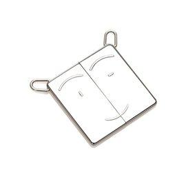 Hermès-Hermes Silver Symbole Pendant-Black,Silvery