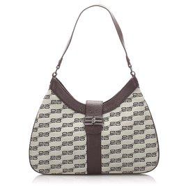 Balenciaga-Balenciaga White Canvas Shoulder Bag-Brown,White,Dark brown