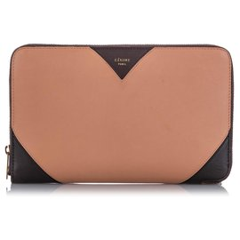 Céline-Celine Pink Zip Around Leather Wallet-Brown,Pink,Dark brown