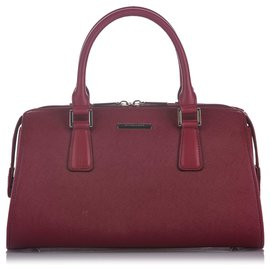 Burberry-Burberry Red Leather Handbag-Red,Dark red