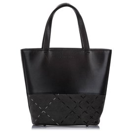 Burberry-Burberry Black Leather Tote Bag-Black,Grey