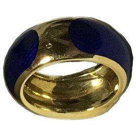 Van Cleef & Arpels-Van Cleef & Arpels Gold Enamel Belt Band Ring-Multiple colors
