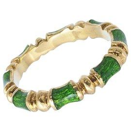 Tiffany & Co-TIFFANY & CO. Gold Enamel Bamboo Band Ring-Multiple colors