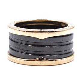 Bulgari-Bvlgari 750 18k Rose Gold Black Ceramic Spiral B.Zero1 size 59 Ring-Multiple colors