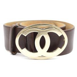 Chanel-Taille de boucle ovale Chanel Brown CC Gold 80/32 Ceinture en cuir-Marron