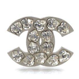 Chanel-Chanel Silver CC Heart Crystals Brooch-Silvery
