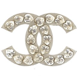Chanel-Chanel Silver Large CC Heart Crystals Brooch-Silvery