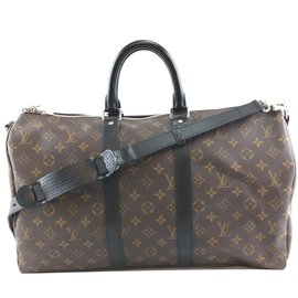 Louis Vuitton-Louis Vuitton Keepall 45 Bandouliere Monogram Canvas and Calf Leather-Brown