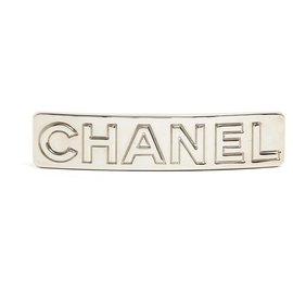 Chanel-LARGE SILVER BAR HAIR CLIP-Silvery