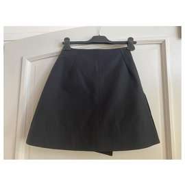 Dior-DIOR NAVY BLUE TRAPEZE SKIRT-Navy blue