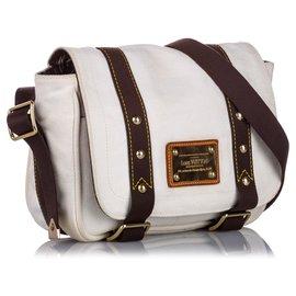 Louis Vuitton-Louis Vuitton White Antigua Besace PM-Black,White