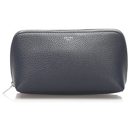 Céline-Celine Blue Leather Pouch-Blue,Navy blue