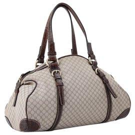 Céline-Celine Brown Macadam Canvas Handbag-Brown,Beige