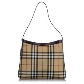 Burberry-Burberry Brown House Check Shoulder Bag-Brown,Multiple colors,Beige