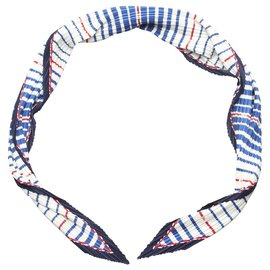 Chanel-Chanel Blue Printed Silk Scarf-Blue,Multiple colors