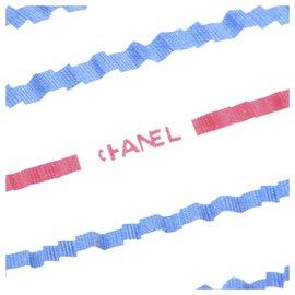 Chanel-Foulard en soie imprimée bleu Chanel-Bleu,Multicolore