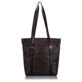 Céline-Celine Black Macadam Tote Bag-Black