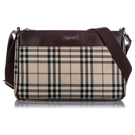 Burberry-Burberry Brown House Check Canvas Crossbody Bag-Brown,Multiple colors,Beige