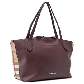 Burberry-Burberry Red Medium Derby House Check Welburn Tote-Red,Multiple colors,Other