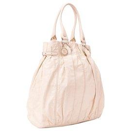 Céline-Celine White Leather Handbag-White,Cream