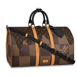 Louis Vuitton-Keepall Bandouliere 50-Caramel,Damier ebène