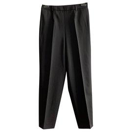Yves Saint Laurent-Pantalon noir en laine carotte-Noir